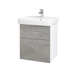 Dreja - Kúpeľňová skriňa Q MAX SZZ2 55 - N01 Bílá lesk / Úchytka T01 / D01 Beton (67475A)