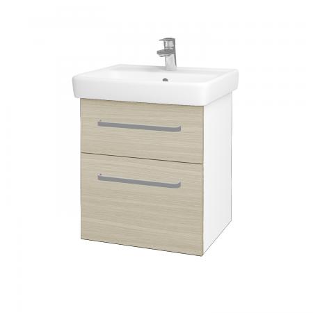 Dreja - Kúpeľňová skriňa Q MAX SZZ2 55 - N01 Bílá lesk / Úchytka T01 / D04 Dub (61220A)