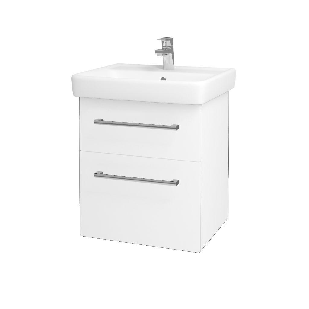 Dreja - Kúpeľňová skriňa Q MAX SZZ2 55 - N01 Bílá lesk / Úchytka T03 / L01 Bílá vysoký lesk 61251C