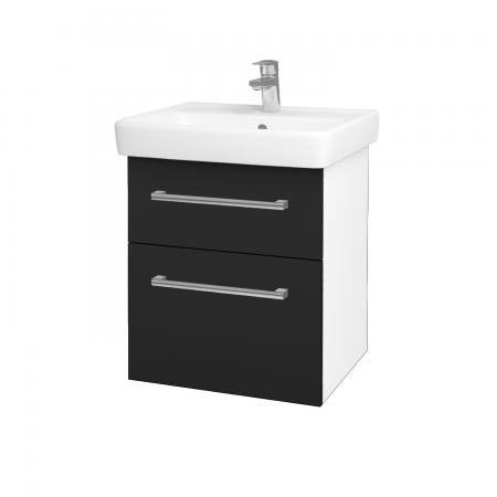 Dreja - Kúpeľňová skriňa Q MAX SZZ2 55 - N01 Bílá lesk / Úchytka T03 / L03 Antracit vysoký lesk (61244C)