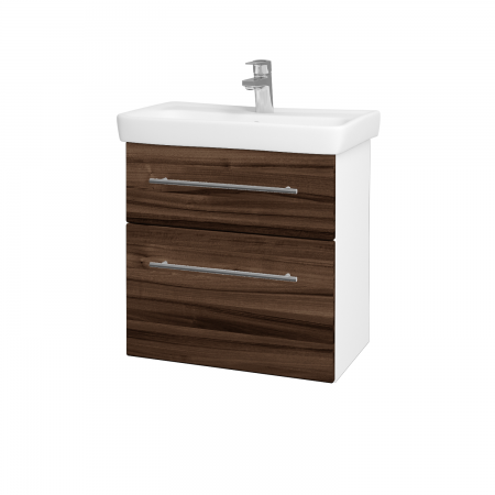 Dreja - Kúpeľňová skriňa GO SZZ2 60 - N01 Bílá lesk / Úchytka T02 / D06 Ořech (20753B)