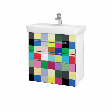 Dreja - Kúpeľňová skriňa GO SZZ2 60 - N01 Bílá lesk / Úchytka T02 / IND Individual (23839B)
