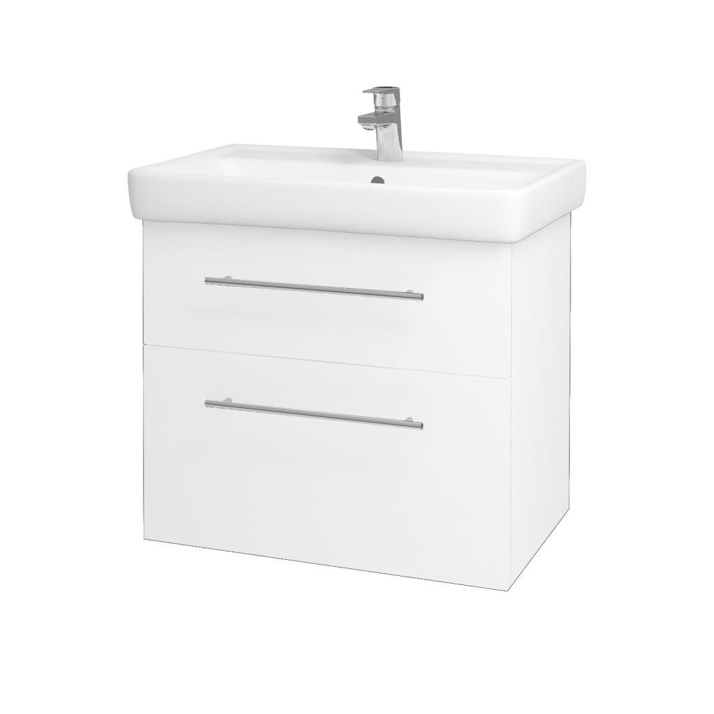 Dreja - Kúpeľňová skriňa Q MAX SZZ2 70 - N01 Bílá lesk / Úchytka T02 / L01 Bílá vysoký lesk 60155B