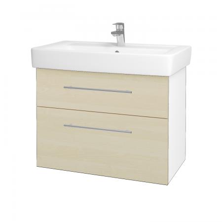 Dreja - Kúpeľňová skriňa Q MAX SZZ2 80 - N01 Bílá lesk / Úchytka T02 / D02 Bříza (60087B)