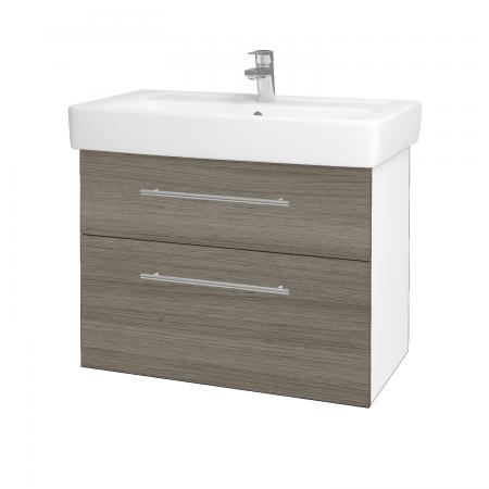 Dreja - Kúpeľňová skriňa Q MAX SZZ2 80 - N01 Bílá lesk / Úchytka T02 / D03 Cafe (68427B)
