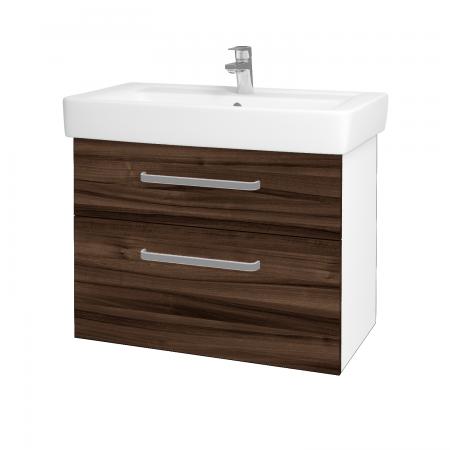 Dreja - Kúpeľňová skriňa Q MAX SZZ2 80 - N01 Bílá lesk / Úchytka T01 / D06 Ořech (60278A)