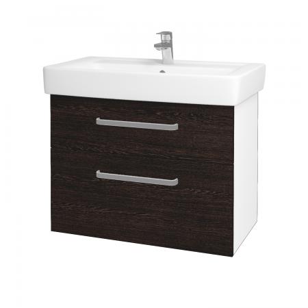 Dreja - Kúpeľňová skriňa Q MAX SZZ2 80 - N01 Bílá lesk / Úchytka T01 / D08 Wenge (60094A)