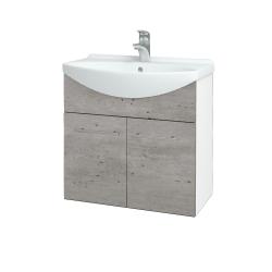 Dreja - Kúpeľňová skriňa TAKE IT SZD2 65 - N01 Bílá lesk / Úchytka T02 / D01 Beton (151928B)