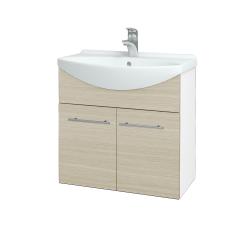 Dreja - Kúpeľňová skriňa TAKE IT SZD2 65 - N01 Bílá lesk / Úchytka T02 / D04 Dub (151959B)