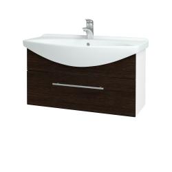Dreja - Kúpeľňová skriňa TAKE IT SZZ 85 - N01 Bílá lesk / Úchytka T02 / D08 Wenge (152611B)