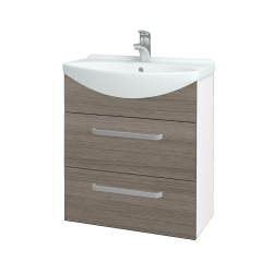 Dreja - Kúpeľňová skriňa TAKE IT SZZ2 65 - N01 Bílá lesk / Úchytka T01 / D03 Cafe (152840A)