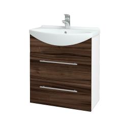 Dreja - Kúpeľňová skriňa TAKE IT SZZ2 65 - N01 Bílá lesk / Úchytka T02 / D06 Ořech (152871B)