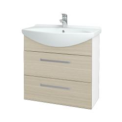 Dreja - Kúpeľňová skriňa TAKE IT SZZ2 75 - N01 Bílá lesk / Úchytka T01 / D04 Dub (152949A)