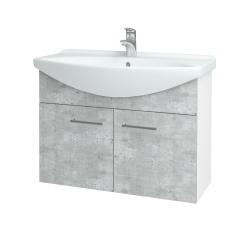 Dreja - Kúpeľňová skriňa TAKE IT SZD2 85 - N01 Bílá lesk / Úchytka T03 / D01 Beton (152109C)