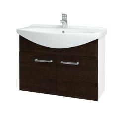 Dreja - Kúpeľňová skriňa TAKE IT SZD2 85 - N01 Bílá lesk / Úchytka T03 / D08 Wenge (152161C)