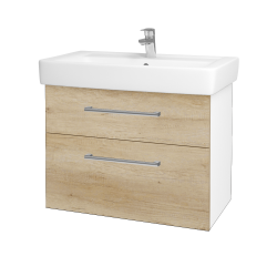 Dreja - Kúpeľňová skriňa Q MAX SZZ2 80 - N01 Bílá lesk / Úchytka T03 / D15 Nebraska (198602C)