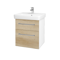 Dreja - Kúpeľňová skriňa Q MAX SZZ2 55 - N01 Bílá lesk / Úchytka T03 / D15 Nebraska (198039C)