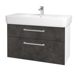 Dreja - Kúpeľňová skriňa Q MAX SZZ2 100 - N01 Bílá lesk / Úchytka T03 / D16 Beton tmavý (198817C)