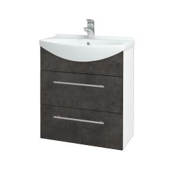 Dreja - Kúpeľňová skriňa TAKE IT SZZ2 65 - N01 Bílá lesk / Úchytka T02 / D16 Beton tmavý (207502B)