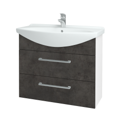 Dreja - Kúpeľňová skriňa TAKE IT SZZ2 85 - N01 Bílá lesk / Úchytka T03 / D16 Beton tmavý (207823C)