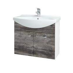 Dreja - Kúpeľňová skriňa TAKE IT SZD2 75 - N01 Bílá lesk / Úchytka T01 / D10 Borovice Jackson (206048A)