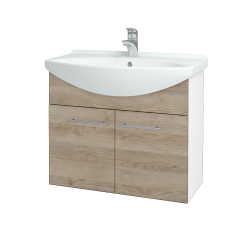 Dreja - Kúpeľňová skriňa TAKE IT SZD2 75 - N01 Bílá lesk / Úchytka T02 / D17 Colorado (206079B)