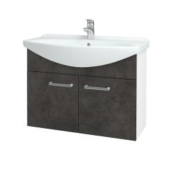 Dreja - Kúpeľňová skriňa TAKE IT SZD2 85 - N01 Bílá lesk / Úchytka T03 / D16 Beton tmavý (206222C)