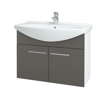 Dreja - Kúpeľňová skriňa TAKE IT SZD2 85 - N01 Bílá lesk / Úchytka T02 / N06 Lava (206253B)