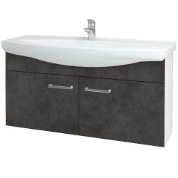 Dreja - Kúpeľňová skriňa TAKE IT SZD2 120 - N01 Bílá lesk / Úchytka T03 / D16 Beton tmavý (206543C)