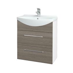 Dreja - Kúpeľňová skriňa TAKE IT SZZ2 65 - N01 Bílá lesk / Úchytka T04 / D03 Cafe (152840E)