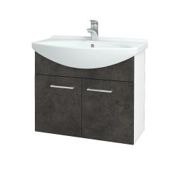 Dreja - Kúpeľňová skriňa TAKE IT SZD2 75 - N01 Bílá lesk / Úchytka T04 / D16 Beton tmavý (206062E)
