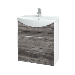 Dreja - Kúpeľňová skriňa TAKE IT SZZ2 65 - N01 Bílá lesk / Úchytka T04 / D10 Borovice Jackson (207489E)