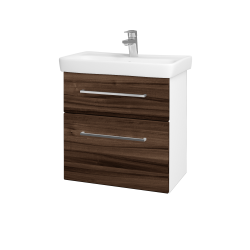Dreja - Kúpeľňová skriňa GO SZZ2 60 - N01 Bílá lesk / Úchytka T04 / D06 Ořech (20753E)