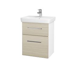 Dreja - Kúpeľňová skriňa GO SZZ2 50 - N01 Bílá lesk / Úchytka T04 / D04 Dub (27943E)