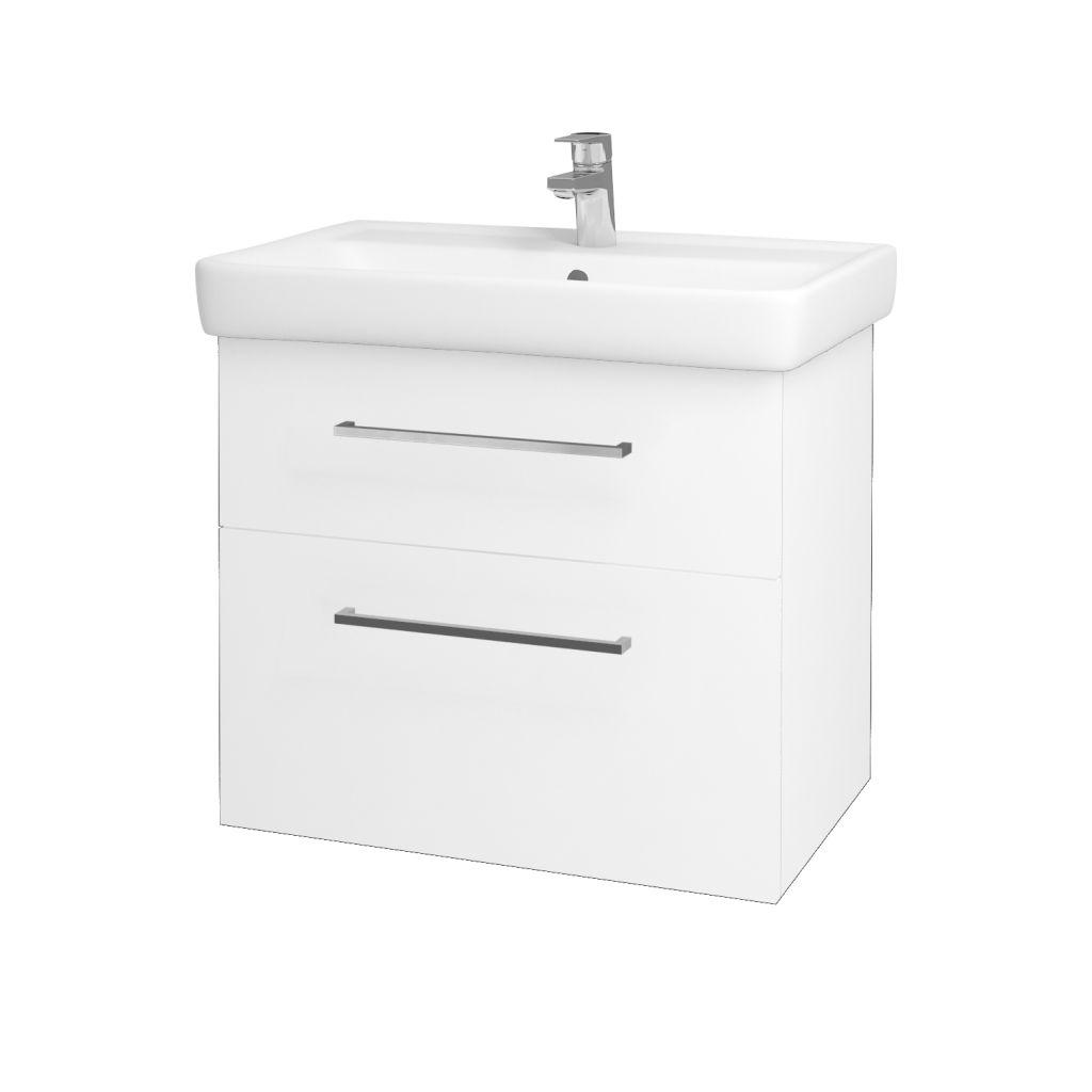 Dreja - Kúpeľňová skriňa Q MAX SZZ2 70 - N01 Bílá lesk / Úchytka T04 / L01 Bílá vysoký lesk 60155E