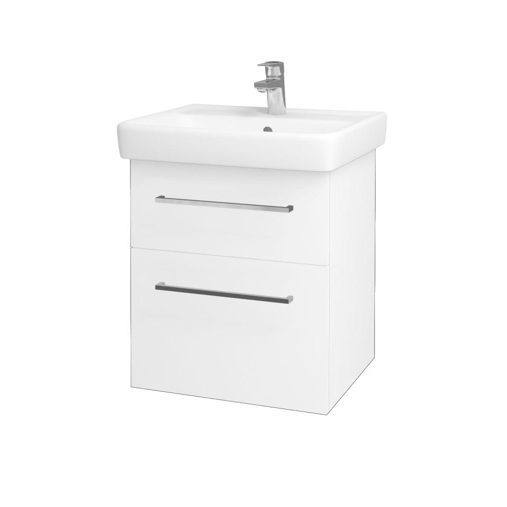 Dreja - Kúpeľňová skriňa Q MAX SZZ2 55 - N01 Bílá lesk / Úchytka T04 / L01 Bílá vysoký lesk 61251E