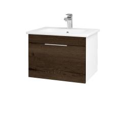 Dreja - Kúpeľňová skriňa ASTON SZZ 60 - N01 Bílá lesk / Úchytka T05 / D21 Tobacco (276652F)