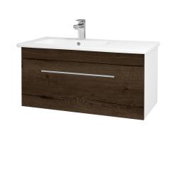 Dreja - Kúpeľňová skriňa ASTON SZZ 90 - N01 Bílá lesk / Úchytka T02 / D21 Tobacco (276737B)