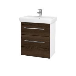 Dreja - Kúpeľňová skriňa GO SZZ2 55 - N01 Bílá lesk / Úchytka T04 / D21 Tobacco (278878E)