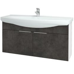 Dreja - Kúpeľňová skriňa TAKE IT SZD2 120 - N01 Bílá lesk / Úchytka T05 / D16 Beton tmavý (206543F)