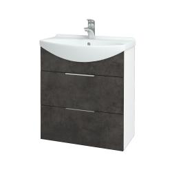 Dreja - Kúpeľňová skriňa TAKE IT SZZ2 65 - N01 Bílá lesk / Úchytka T05 / D16 Beton tmavý (207502F)