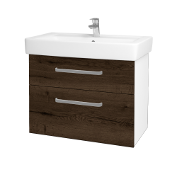 Dreja - Kúpeľňová skriňa Q MAX SZZ2 80 - N01 Bílá lesk / Úchytka T01 / D21 Tobacco (275686A)