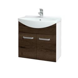 Dreja - Kúpeľňová skriňa TAKE IT SZD2 65 - N01 Bílá lesk / Úchytka T01 / D21 Tobacco (279356A)