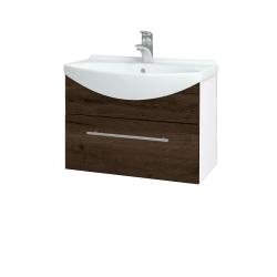 Dreja - Kúpeľňová skriňa TAKE IT SZZ 65 - N01 Bílá lesk / Úchytka T02 / D21 Tobacco (279370B)