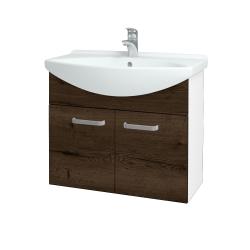 Dreja - Kúpeľňová skriňa TAKE IT SZD2 75 - N01 Bílá lesk / Úchytka T01 / D21 Tobacco (279417A)