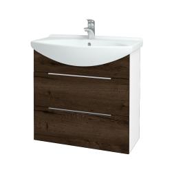 Dreja - Kúpeľňová skriňa TAKE IT SZZ2 75 - N01 Bílá lesk / Úchytka T05 / D21 Tobacco (279455F)