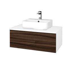 Dreja - Kúpeľňová skrinka MODULE SZZ1 80 - N01 Bílá lesk / D06 Ořech (297657)