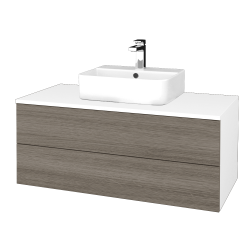 Dreja - Kúpeľňová skrinka MODULE SZZ2 100 - N01 Bílá lesk / D03 Cafe (299507)