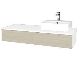 Dreja - Kúpeľňová skrinka MODULE SZZ2 120 - N01 Bílá lesk / D04 Dub / Pravé (300456P)