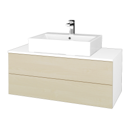 Dreja - Kúpeľňová skrinka MODULE SZZ2 100 - N01 Bílá lesk / D02 Bříza (313586)